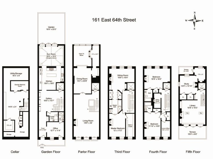 Townhouse floor plan with elevator floor plans for House plans with elevators