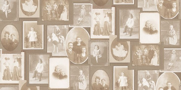 Memories 2 (G56118) - Galerie Wallpapers - Victorian style family photos in frames in sepia tones. A paste the wall product. Please request a sample for a true colour match.