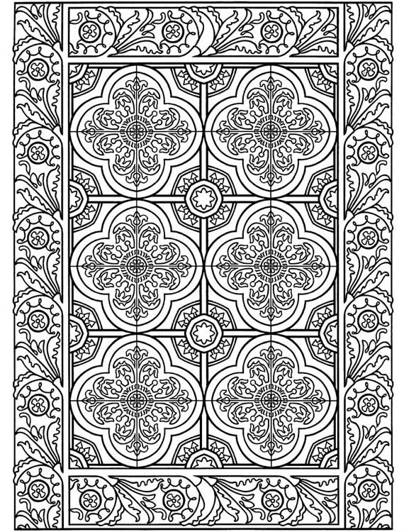 Coloring page from Decorative Tile Designs:  Dover Pub. Weekly Samples