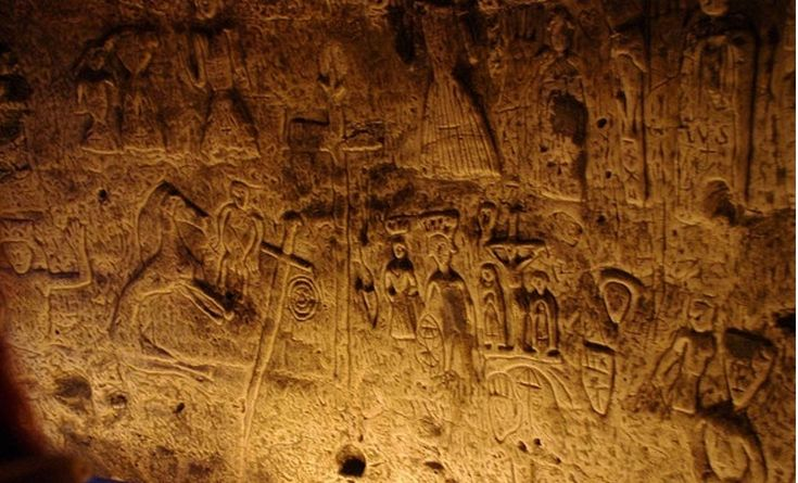 The mysterious and elaborately carved walls of Royston Cave