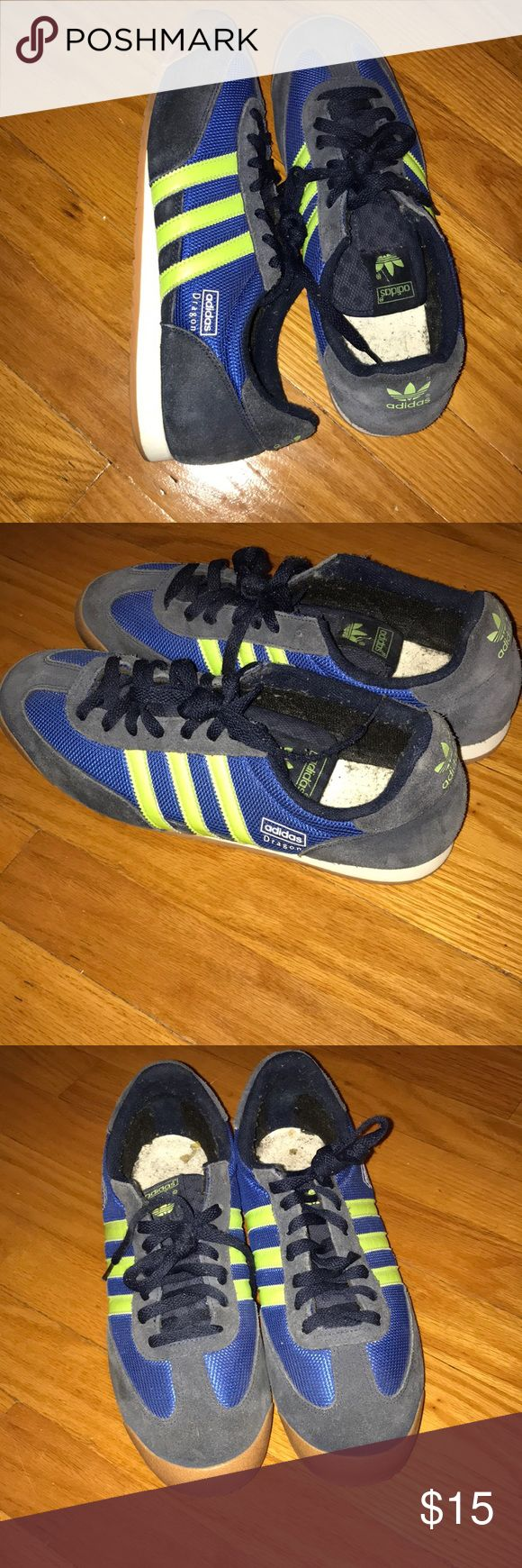 Men's Adidas Dragon Sneakers Clean sneakers without insole. Green stripe detail and peanut butter leather toe. Great shoe for summer.   Men's size 10.5 adidas Shoes Sneakers