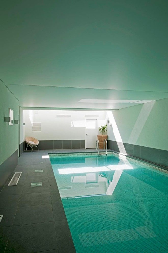 simple and minimalist interior pool with enclosure