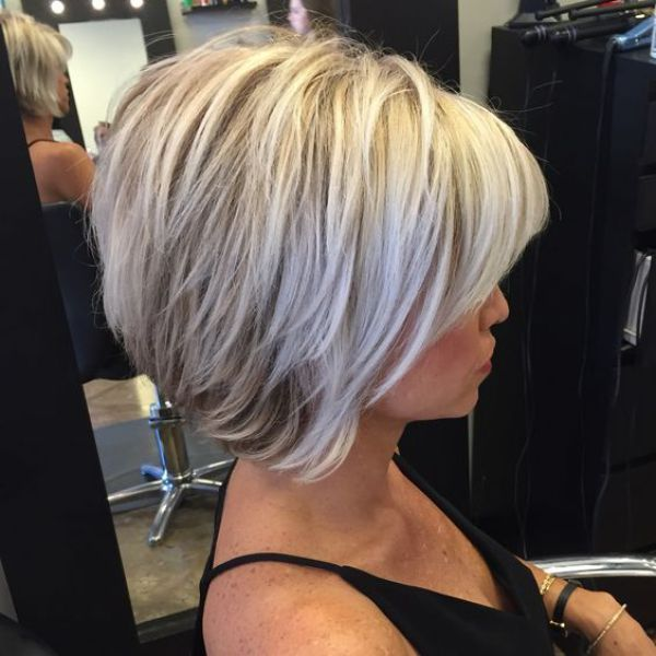 Grey Hair Inverted Bob Haircut