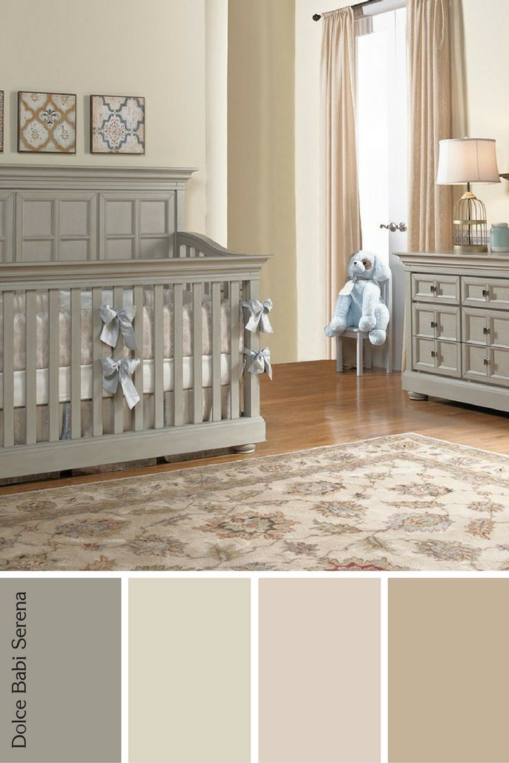 Classic nursery designed using brown, tan and warm tones for baby girl! Features Dolce Babi Serena furniture.