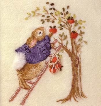 Apple Bunny - Jenny McWhinney: Embroidery, Needleart, Stitching, Apples, Apple Bunny, Bunnies, Crafts
