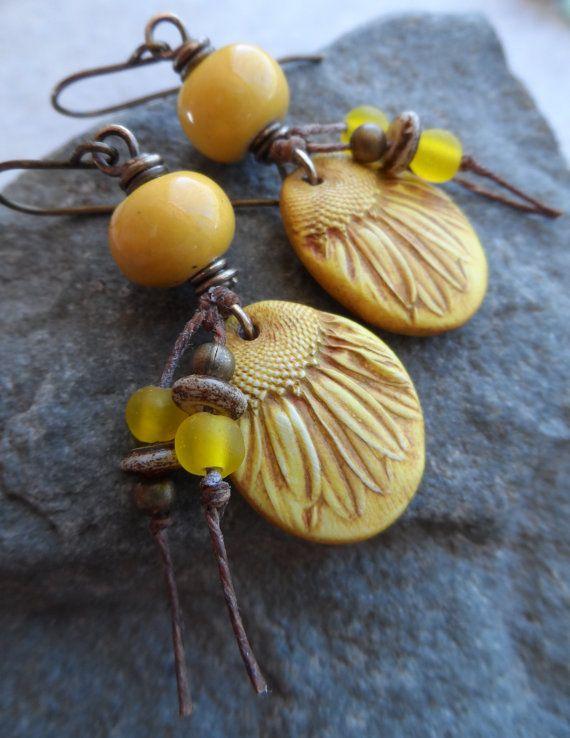 Sunnies ... Polymer Clay Ceramic Tassel and Brass by juliethelen
