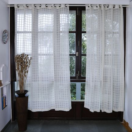 Marigold Checks Sheer Curtain Light Beige - Add oodles of style to your home with an exciting range of designer furniture, furnishings, decor items and kitchenware. We promise to deliver best quality products at best prices.