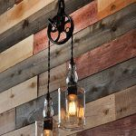 Whiskey Bottle Lights with Vintage Pulley