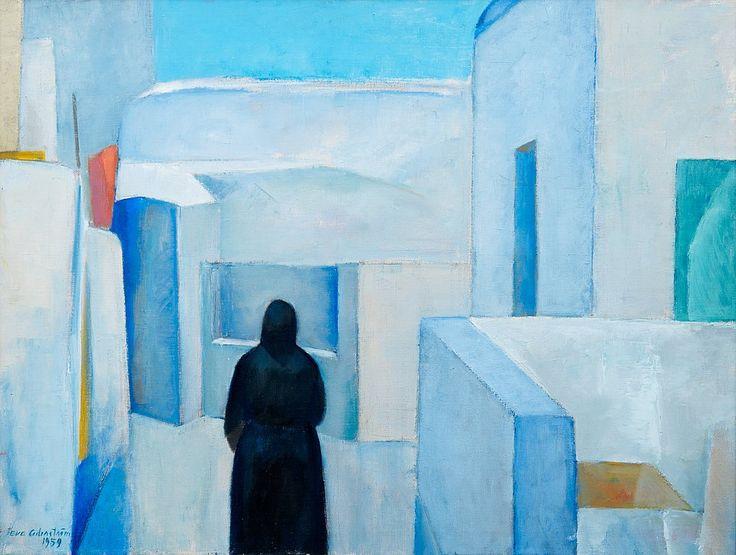 • EVA CEDERSTRÖM : 1909 - 1995 : Finnish • 'Scene from Greece' : 1959 : oil