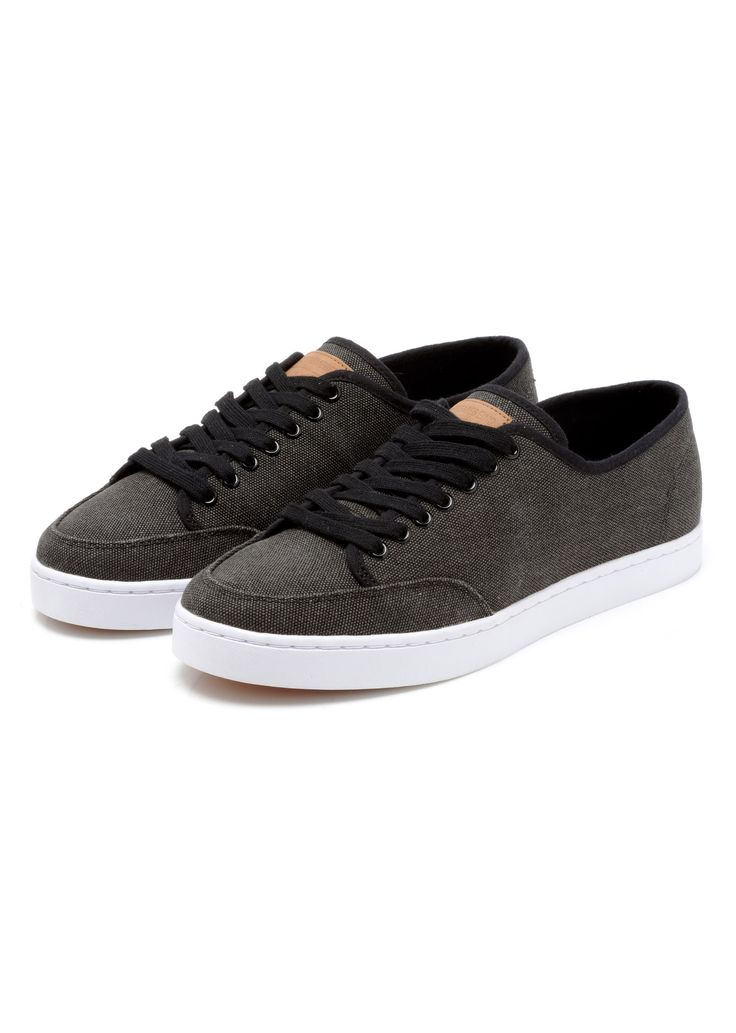 STITCH CANVAS TRAINERS  WASHED BLACK