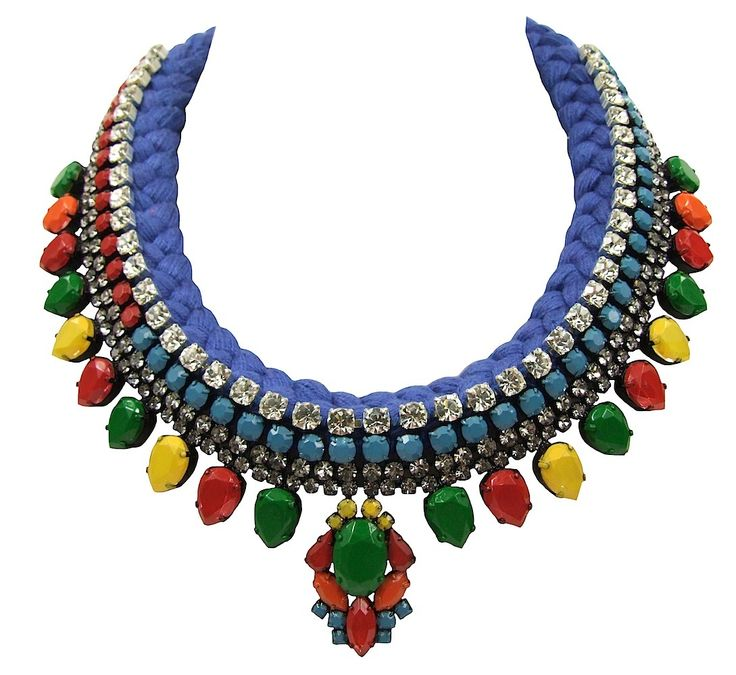 Maldives Luxe statement necklace with blue braid and hand-painted crystals by Jolita Jewellery ON SALE NOW. Was £655 now £395.
