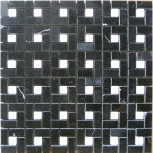"""Stone Mosaic Tile Backsplash Tumbled Mini-pinwheel Mosaic Polished Black & White Marble Tile 12""""x12"""" Cha-012"""