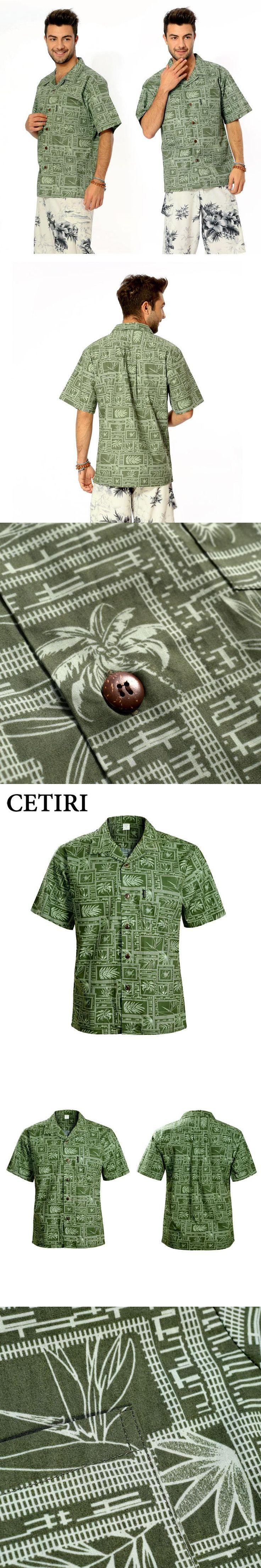 Brand Beach Shirt Men's Hawaiian Shirt Green Cotton Plus Size Fancy Dress Shirts For Men Chemise Homme Camisa Palmeiras Overhemd