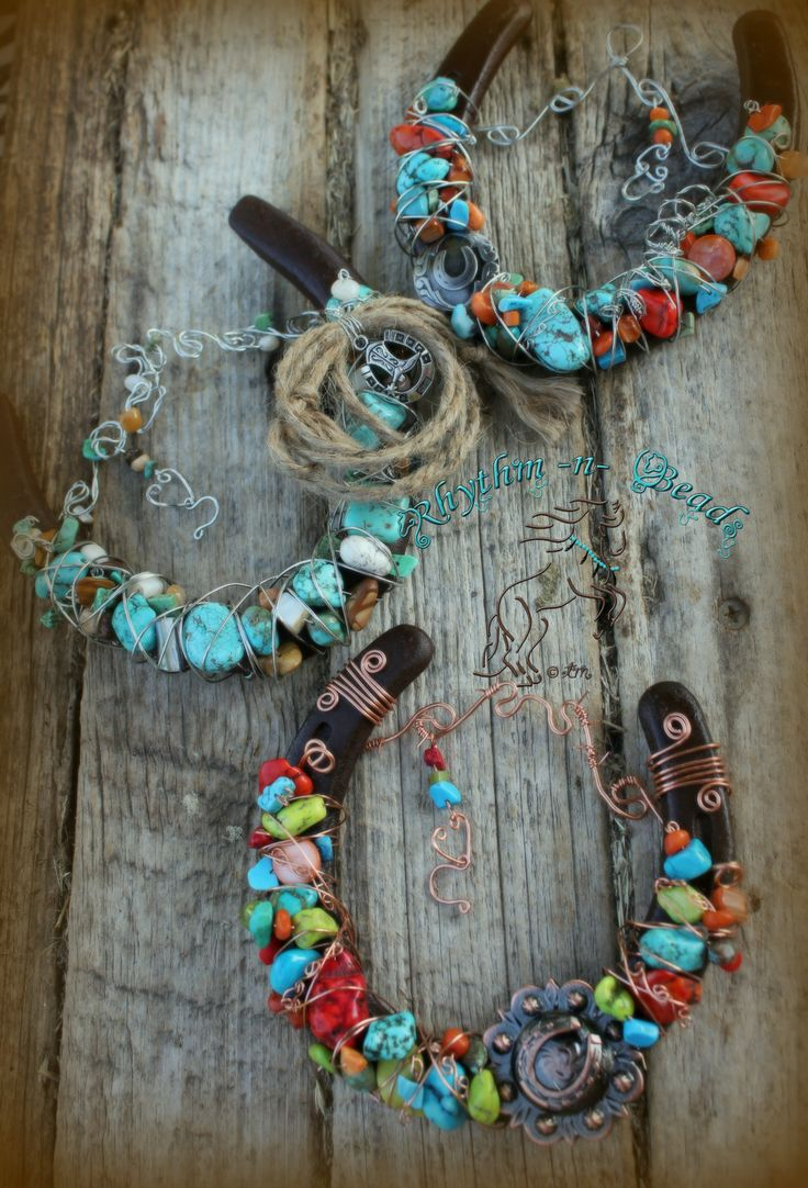 Beaded Horseshoe by Rhythm-n-Beads Decorated western rustic horseshoes .  www.
