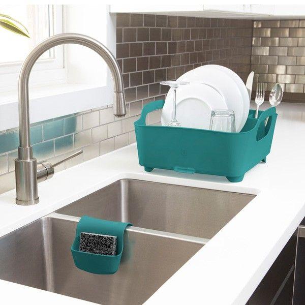 Umbra Tub Dish Rack - Teal - Modern Dish and Cutlery Drainer