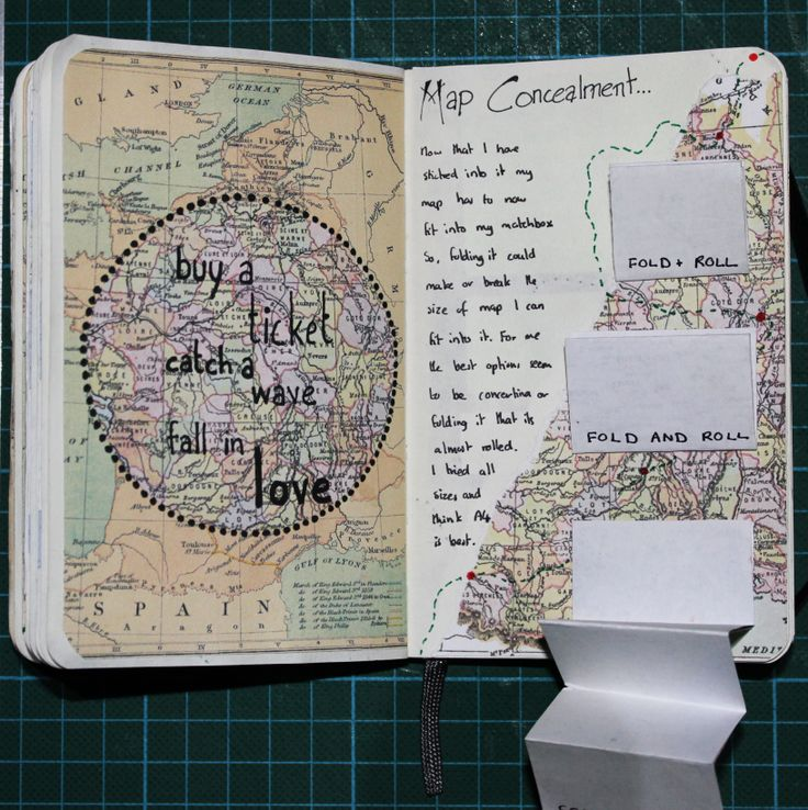 Another phrase featuring in my sketchbook alongside my folding experiments looking at how I was going to conceal my map inside the matchbox.