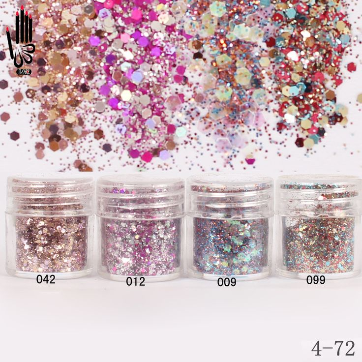 Nail 1 Jar/Kotak 10 ml Nail Pink Rose Mix Warna Mix Nail Bubuk Glitter Sequin Bubuk untuk Gel Nail Dekorasi 300 Warna 4-72