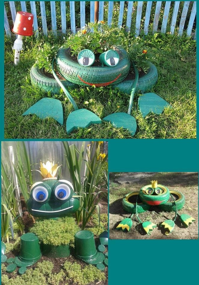 Frog tyre planter reuse recycle repurpose tyres tire for Decoration jardin grenouille