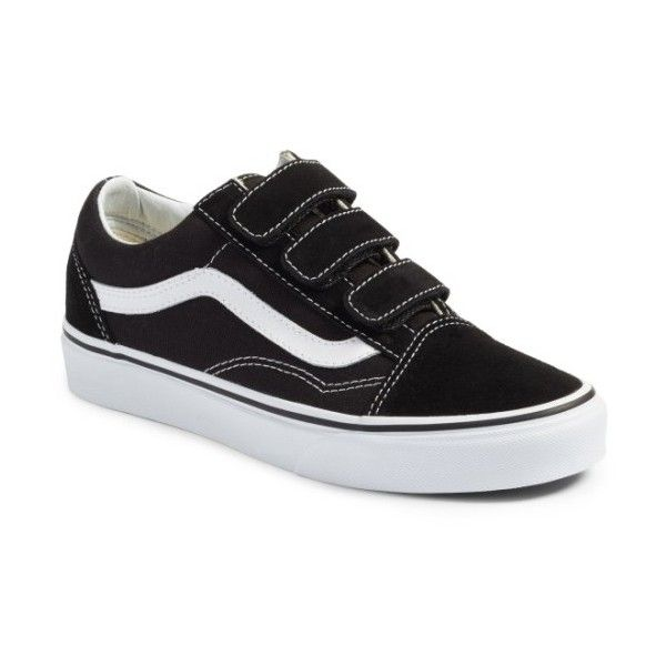 Women's Vans Old Skool V Pro Sneaker ($75) ❤ liked on Polyvore featuring shoes, sneakers, vans shoes, suede sneakers, vans sneakers, velcro strap shoes and white canvas sneakers