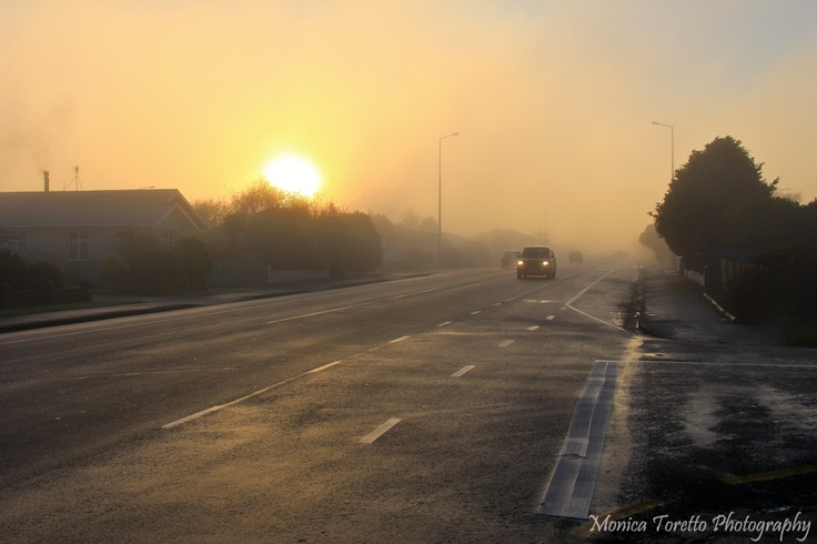 A foggy start to the day in Invercargill recently, but it turned out to be a cracker! St Andrews Street.  June 2013.
