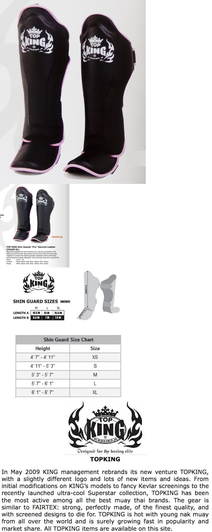 Shin Guards 179782: Top King Genuine Leather Muay Thai Shin Guards-Tksgp-Black W/ Pink Trim -Durable BUY IT NOW ONLY: $99.95