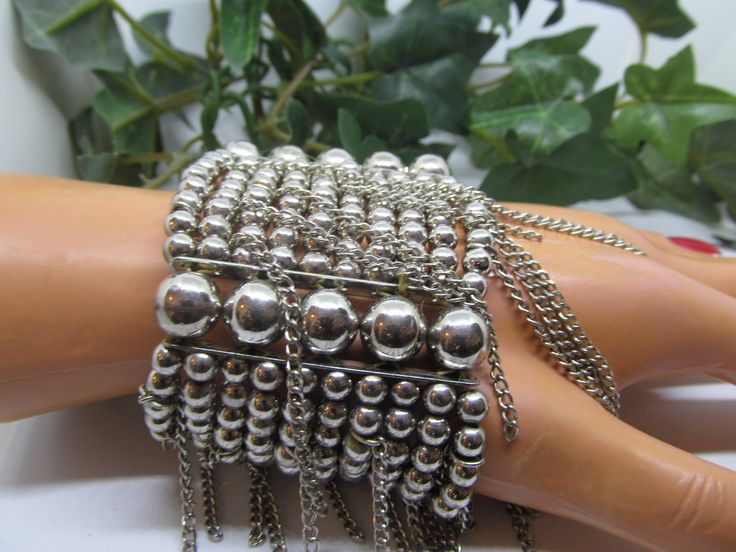 Chunky Bracelet Bead & Chain Ornate 10 Strand Silver Ball Stretch Cuff Bracelet with Chain Accents Ladies Bead Chain Stretch Cuff Bracelet