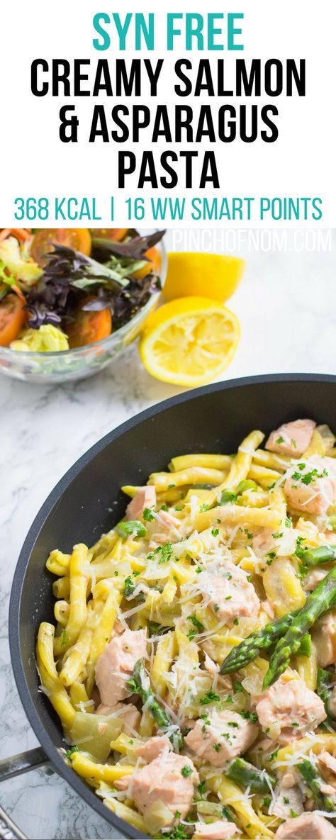 Syn Free Creamy Salmon and Asparagus Pasta | Pinch Of Nom Slimming World Recipes   368 kcal | Syn Free | 16 Weight Watchers Smart Points