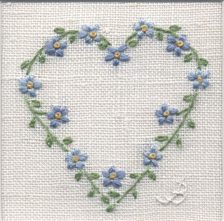 Forget Me Not Heart -  hand embroidery