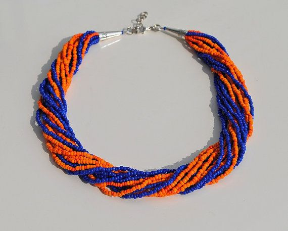 Beaded Florida Gators Necklace /// Florida Gators by ByLoveDesigns