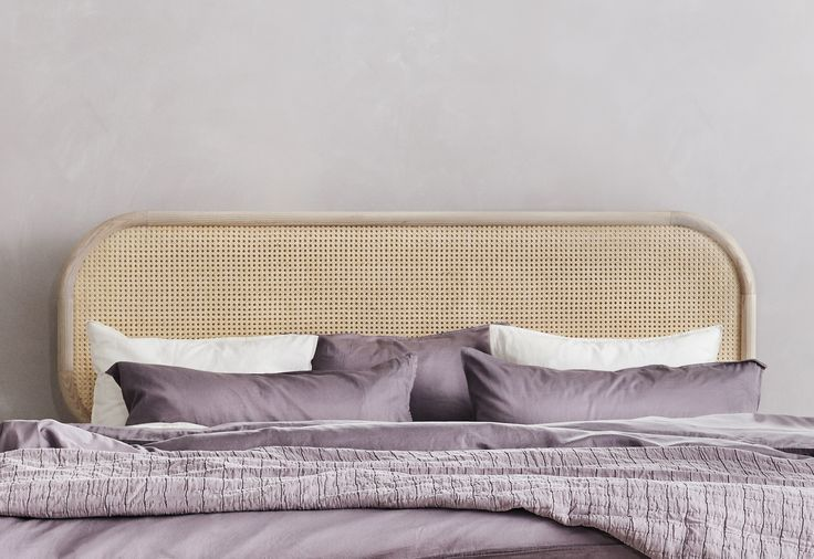 The Lempi headboard is a combination of solid ash and rattan. Designed by Design Office KOKO3, made in Finland.