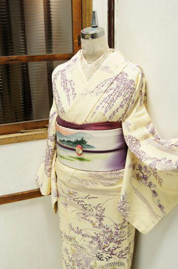 Cream Colored Kimono with Delicate Wisteria Print with Soft Landscape Scene Obi