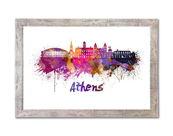 Athens OH skyline en acuarela sobre fondo blanco con el nombre de la ciudad - SKU 1019 by Paulrommer on Etsy