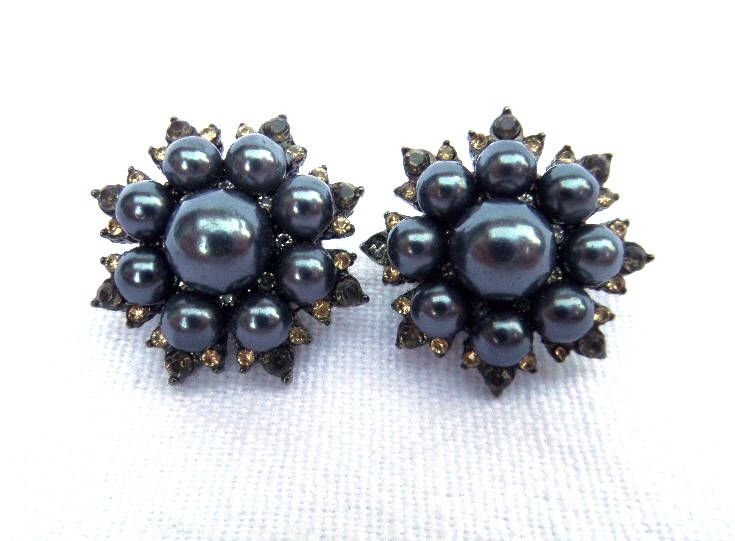 Blue Pearl Clip On Earrings, Costume Jewellery, Circa 1950, Faux Diamond and Citrine Stone Detailing, Black Tone Metal, Excellent Condition by BlackSquirrelHome on Etsy https://www.etsy.com/uk/listing/523076070/blue-pearl-clip-on-earrings-costume