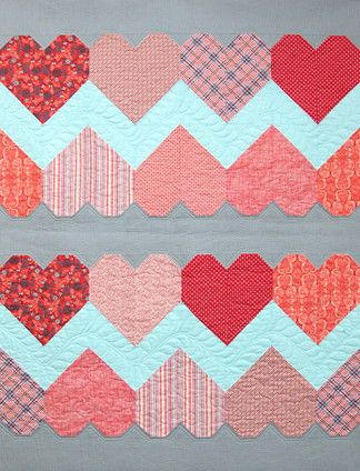 Paper hearts quilt kit at Stitchin' Post; design by Tula Pink - hearts would make a cute outer edge as well.