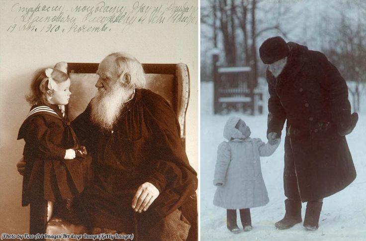 Leo Tolstoy with his granddaughter, Yasnaya Polyana, circa 1910