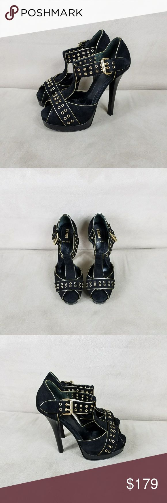 Fendi Suede Grommet Platform Sandals In excellent, preowned condition. They were very well cared for and come from a non smoking, pet free home. Made in Italy. These are a EU 37.5 which is a US 7, not a 7.5. Fendi Shoes Platforms