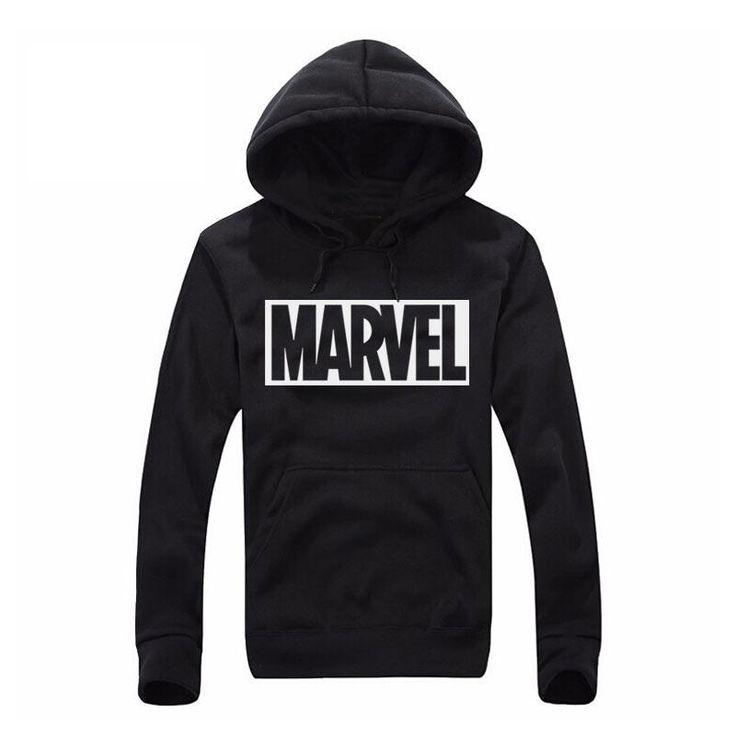 2017 New Marvel Letter Print Black Sweatshirt Men Hoodies Fashion Solid Hoody Men Pullover Men's Tracksuits male coats