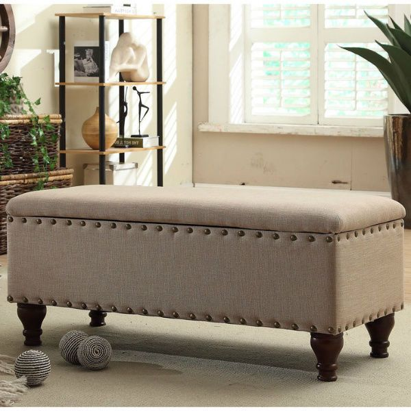 Madison storage bench sitting foot of bed ottomans and for Ottoman to sit on