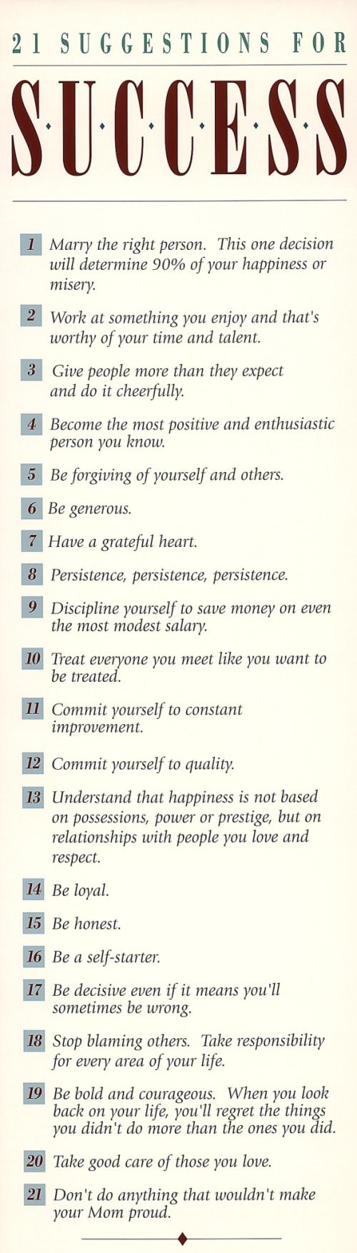 21 Suggestions for success - love it! Thanks The Better Man Project!