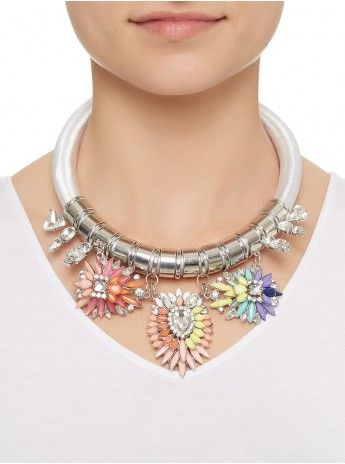 Rope Choker with Flower Jewels Multi-colour 460