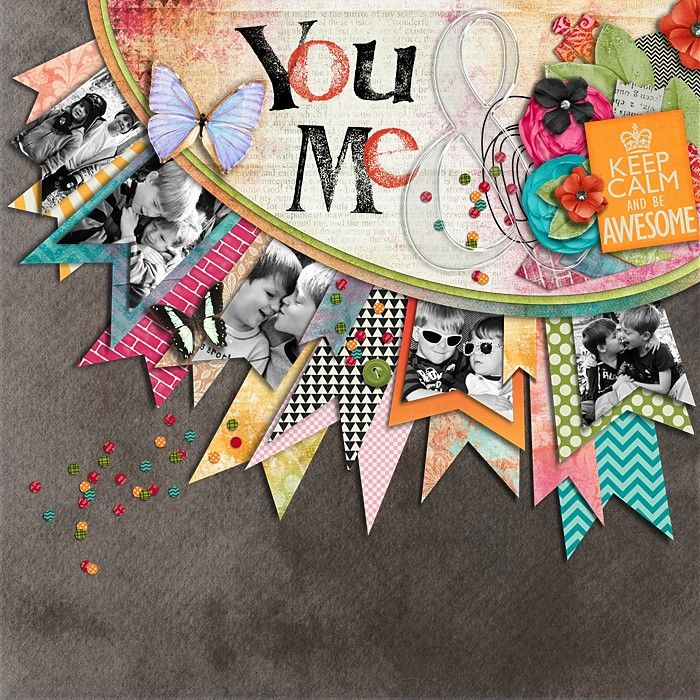 #papercrafting #scrapbook #layout Proof that you dont need fancy die cutting tools to make a fabulous layout. Strips of paper with notches cut in them. So cute.