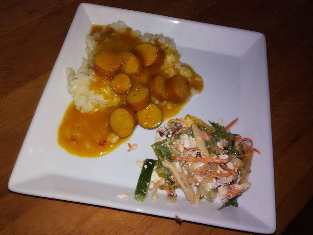 Tupun tupa: Curryinen broileri-nakkikastike riisillä