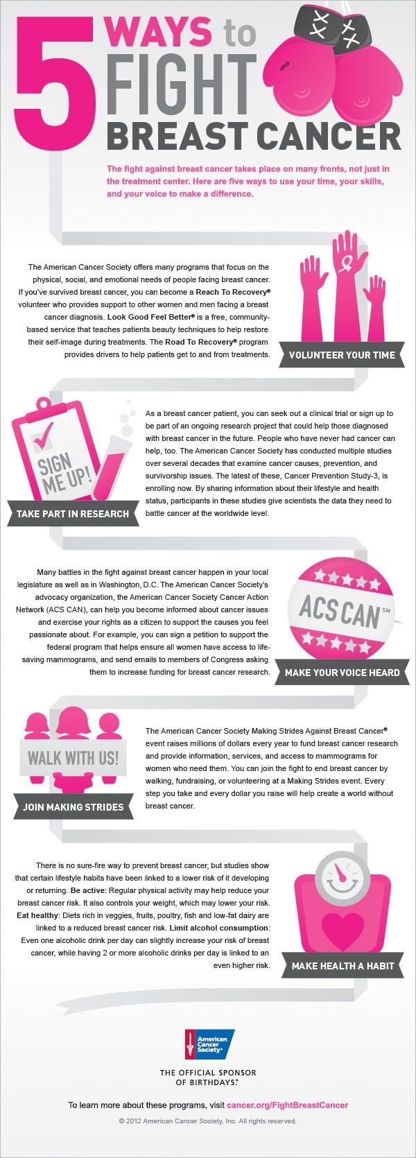 In honor of Breast Cancer Awareness Month here are 5 ways to fight breast cancer Infographic from the American Cancer Society the official sponsor of