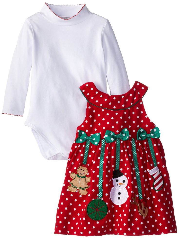 Bonnie Jean Girls Corduroy Holiday Christmas Jumper Dress & Shirt, Red, 2T