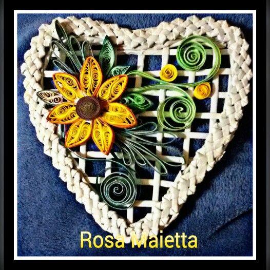 Cuore con treccia e fiori quilling Rosa Maietta