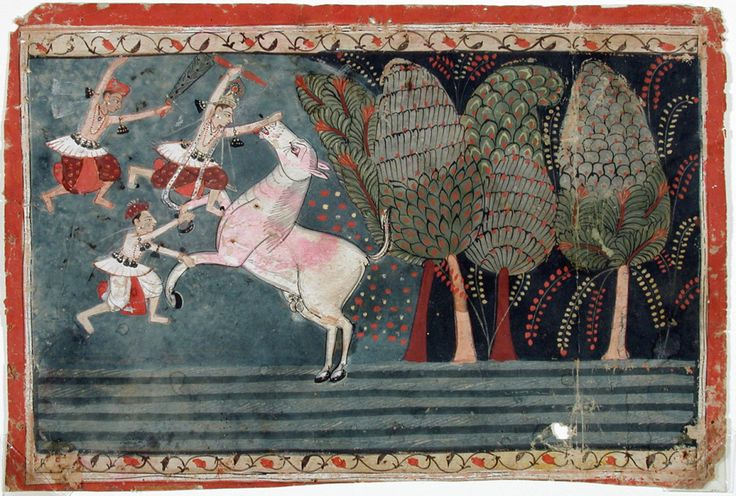 Krishna slays the Wild Ass Demon. Series: The Ancient Text of the Lord, Suite: Bhagavata Purana, Opaque watercolor on paper, India, Malwa (Mandu), ca. 1650