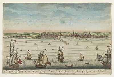 """""""A south east view of the great town of Boston in New England in America,"""" etching by John Carwitham, circa 1730-1760"""