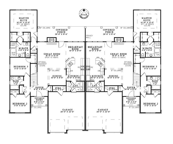 Duplex floor plans with double garage gurus floor Duplex floor plans with garage