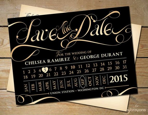 Train Ticket Save the Date Wedding Postcard by MyCrayonsPapeterie // Black and Gold Wedding