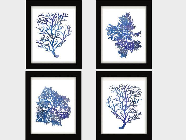Indigo Blue Coral Prints Blue Sea Coral Print by BeachHouseGallery